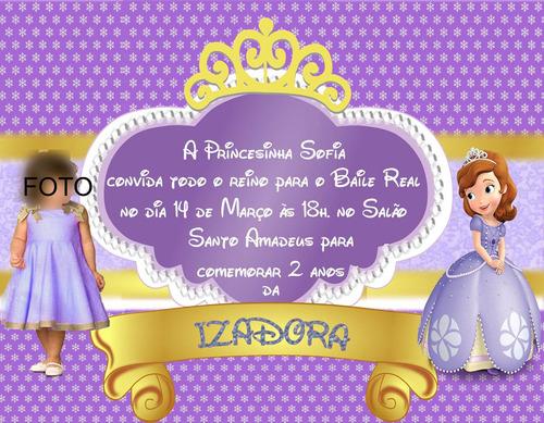 Imagem 1 de 1 de Convite Personalizado Com Foto Princesa Sofia