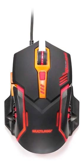 Mouse Gamer Multilaser 2400 Dpi 6 Botões Preto/laranja Mo270