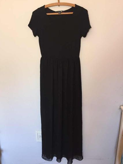 Vestido Largo Negro Con Transparencia Talle S De Forever 21