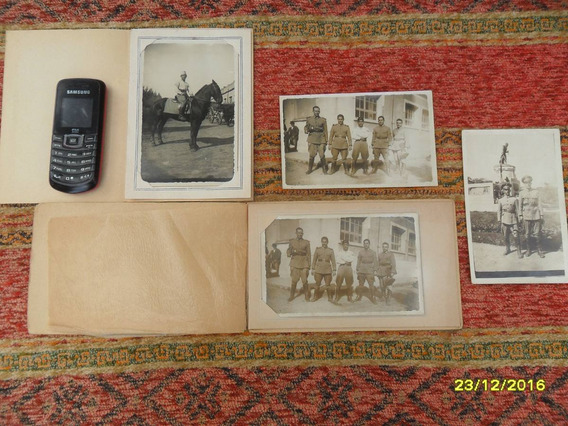Lote 4 Antiguas Fotos Militares Ejercito Caballo Caballeria