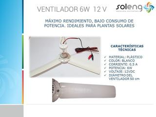 Abanico Ventilador De Techo 12v Dc 6w Baterías Energía Solar