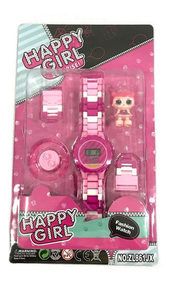 Relógio Infantil Pulseira Happy Girls Surprise + Bonequinha