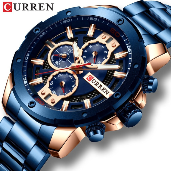 Reloj Original Marca Curren De Acero Inoxidable Y Cronometro