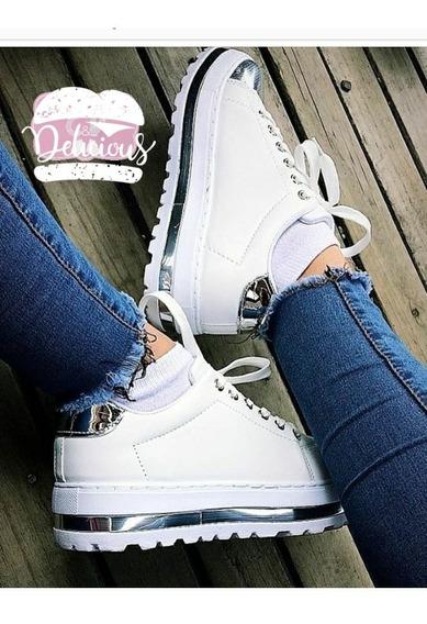 Zapatillas Plataforma Mujer Plateadas Sneakers Gliter