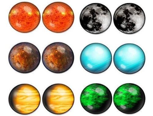 Imagen 1 de 2 de Lilments 6 Pairs Solar System Galaxy Universe Unisex Mens Wo