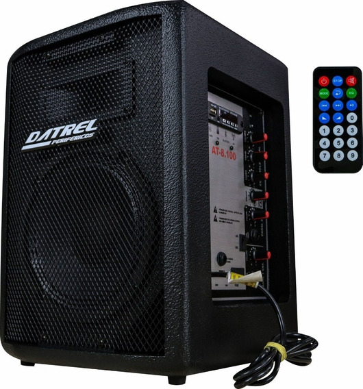 Caixa De Som Ativa Datrel At 8 Bluetooth Usb Sd Fm 100w Promoção T1