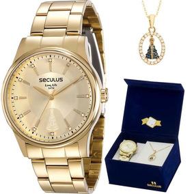 Kit Relógio Seculus Feminino N.s. Aparecida 28654lpsvda1k1