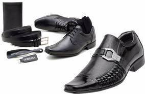 8bddf2f843 Kit 2 Sapatos Sociais + Cinto + Carteira + Meia + Calçadeira
