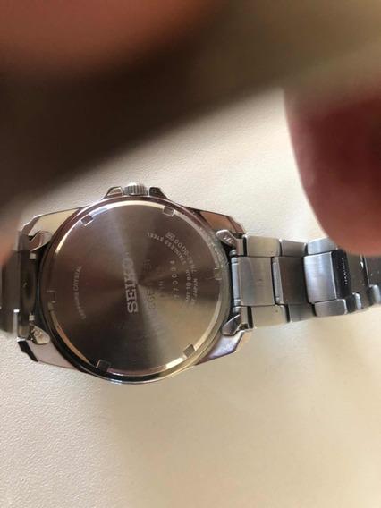 Relógio Seiko Semi Novo Com Nota Fundo Azul Vidro Safira