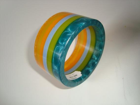 Pulseira Bracelete Em Acrílico Resina Listrada Colorida