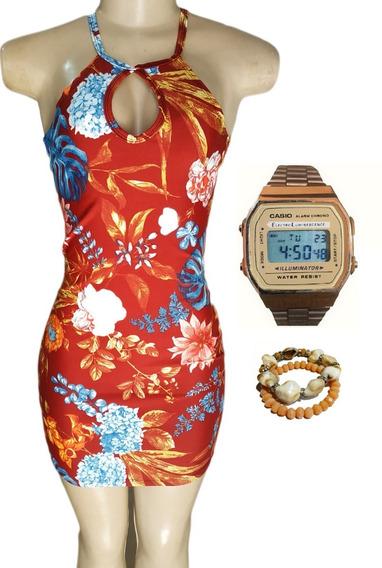 Vestido Estampado Florido + Relógio E Pulseiras Postagem 24h
