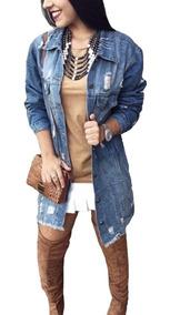 Jaqueta Jeans New Feminina Jeans Rasgado Blogueiras Top 2019