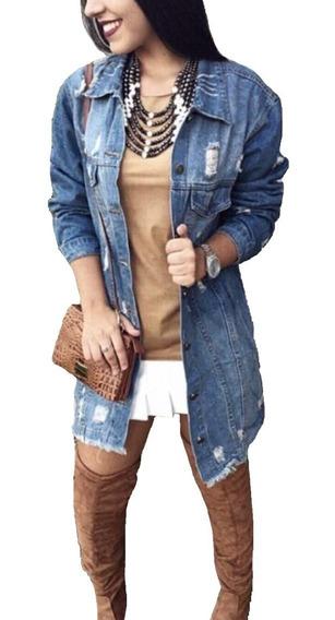 Jaqueta Jeans New Feminina Jeans Rasgado Blogueiras Top Luxo