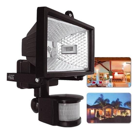 3x Refletor Sensor De Presença E Lâmpada Halógena 100w 110v