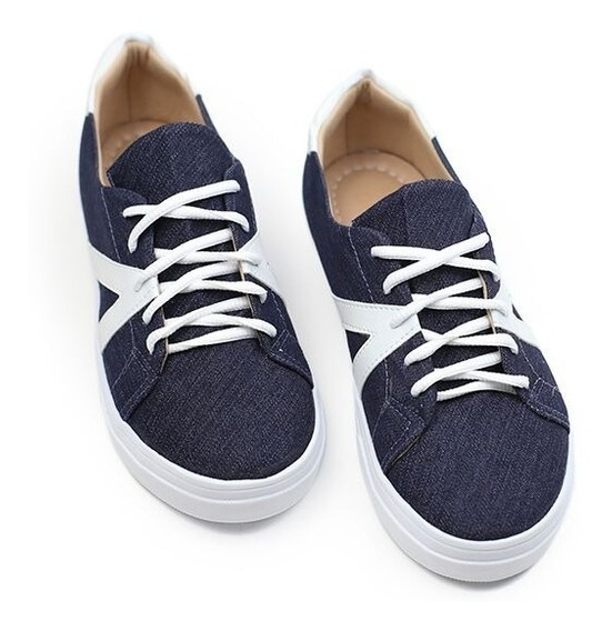 Tênis Feminino Jeans Escuro/napa Branco Lindo Promoção
