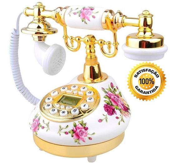 Telefone Fixo Porcelana Vintage Antigo Digital Branco Flores