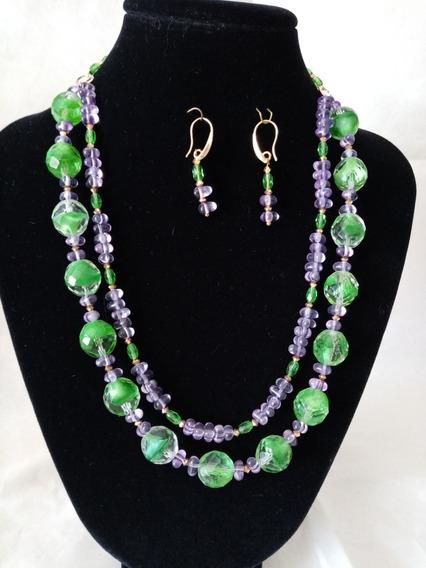 Collar De Auténtico Cristal Checo Zava Beads Verde Y Morado