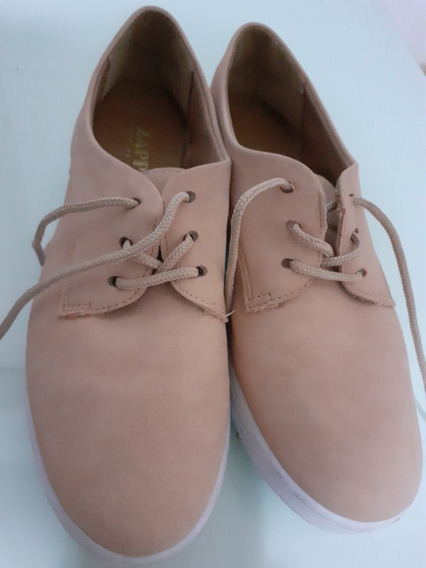 Tênis Zapato Em Couro Rosa, Tem 34