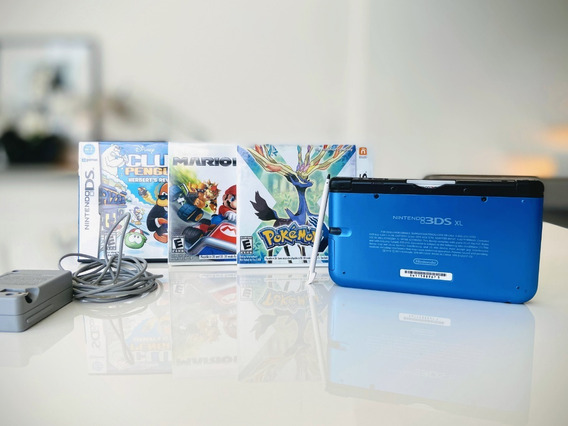 Nintendo 3ds Xl Azul + Jogo Pokemon X + 2 Jogos Originais
