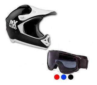Kit Casco Mx Road Motocross Enduro + Antiparra Solomototeam