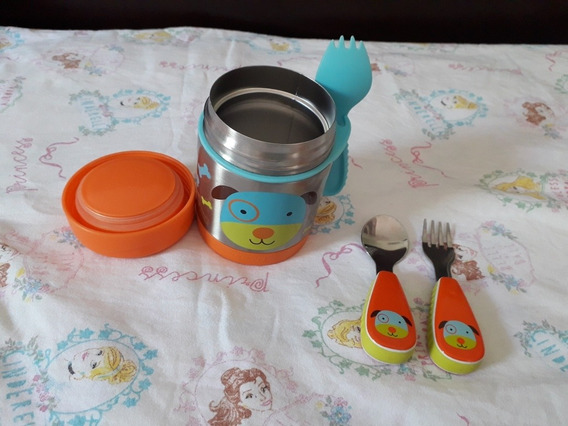Kit Skip Hop Pote Térmico + Talheres