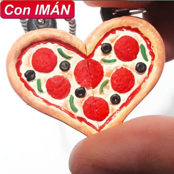 Collar Doble De Pizza Con Imán Amor Amistad