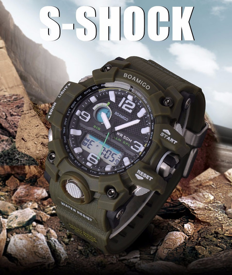 Relógio Masculino Anti Shock Boamigo F5100 Militar Esportivo