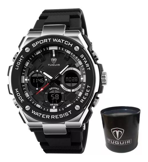 Relógio Masculino Esportivo Tuguir Tg1187 Preto E Prata