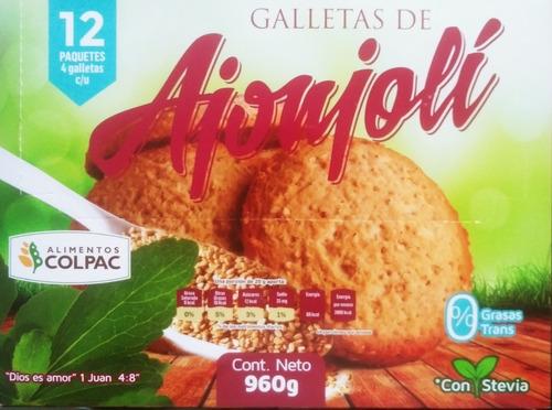 Imagen 1 de 3 de Galletas De Ajonjolí, Avena Y Coco Con 12 Piezas De 80 Grs