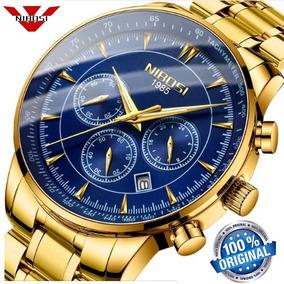 Relógio Masculino Nibosi 2357 Luxo Original Dourado E Azul