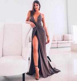 a6d5d5f60234 Vestido Dourado Lurex Metalizado Festa De - Vestidos com o Melhores ...
