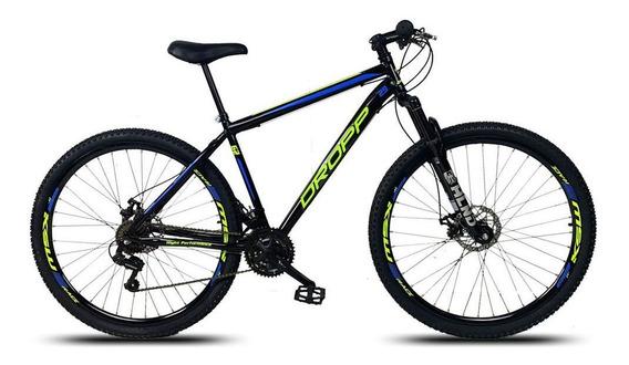 Bicicleta Aro 29 Q17 Freio 21v Aço Susp Preto Amarelo Azul