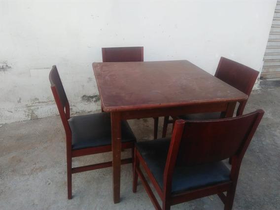 Jogo 4 Cadeiras E Mesa De Madeira Maciça