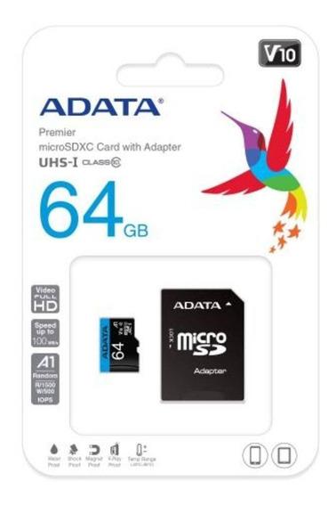 Microsd 64gb Com 1 Adaptador Cl10 100mb/s Adata