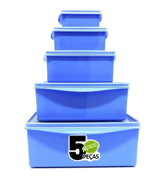 Kit 5 Potes Organizador Quadrado Multiuso Com Tampa Cozinha
