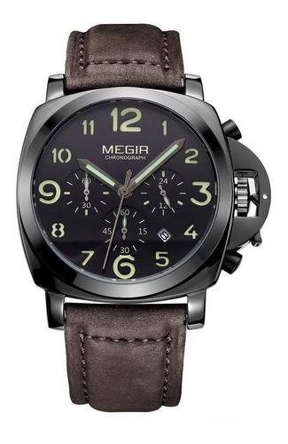 Megir - Reloj Hombre Cronometro Cuero Elegante Panerai Style
