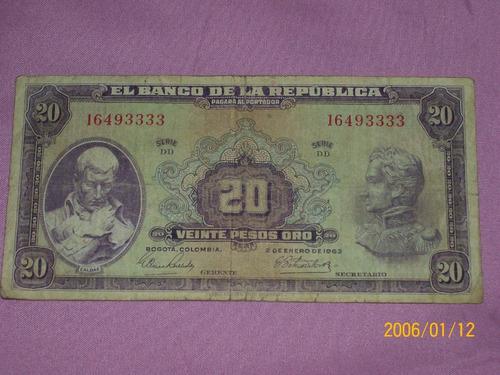 Billete De Colombia       20 Pesos Oro       2 De Enero 1963