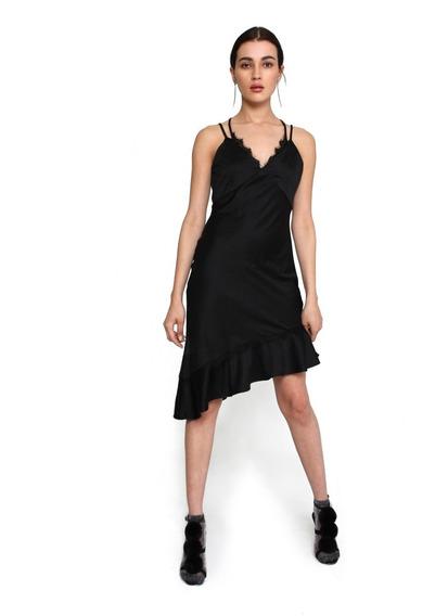 Vestido Midi Mujer Efecto Satin Color Negro Lob