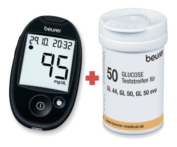 Kit Glucómetro Diabetes Gl44 + 50 Tiras Reactiva Tr44 Beurer