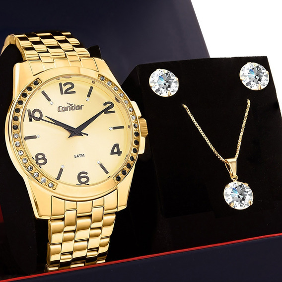 Kit Relógio Feminino Condor Dourado C/ Conjunto Ponto De Luz