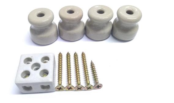 4 Isolador Roldana + 1 Conector De Porcelana + 5 Parafusos