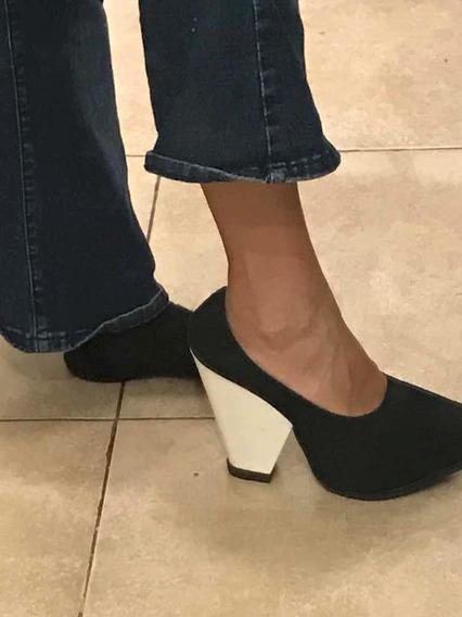 Zapatos N 36 Maria Cher Nuevos. Negro Con Taco Blanco