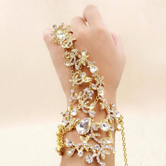 Pulseira Anel Cristal Strass Noiva 15 Anos Luxo Dourada