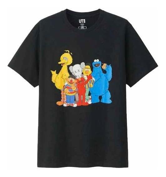 Playera T-shirt Negra Original Kaws X Sesame Street