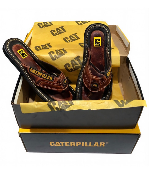 Chinelo Masculino Caterpillar De Couro Legitimo Original