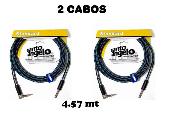 Kit 2 Cabo Guitarra Violão Santo Ângelo Textil 4.57m P10 L