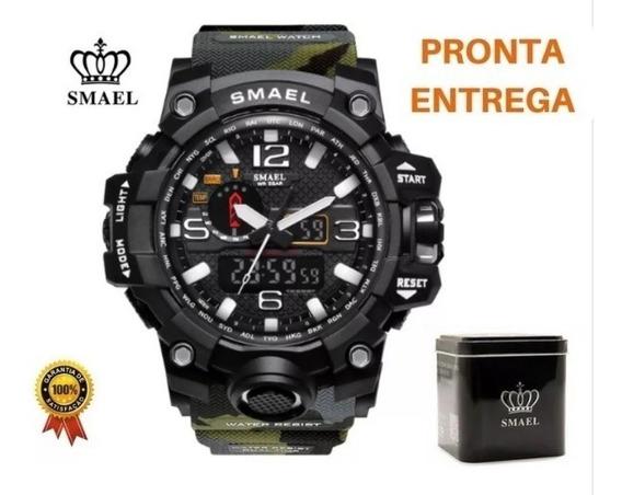 Relógio Camuflado Verde Musgo Tático Militar Smael + Caixa Case Original Pronta Entrega