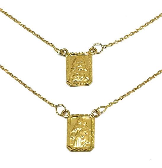 Escapulário Feminino Em Ouro 18k Com Medalha Diamantada