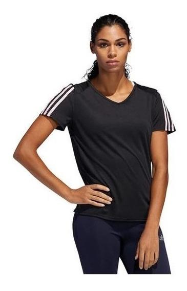 Playera adidas Negra Dama Running 3 Franjas Dx2021