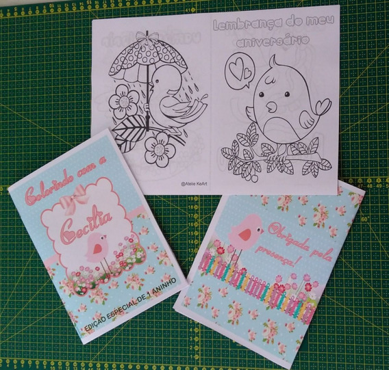 30 Kits Colorir Jardim - Livro Personalizado + Giz De Cera